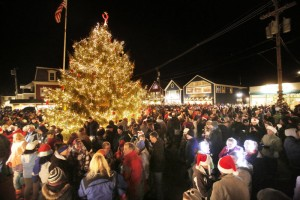 Gregory Rec/Staff Photographer: People crowd into Dock Square in Kennebunkport on Friday, November 30, 2012 for a tree lighting ceremony that kicks off the town's annual Prelude, to, a seven day holiday festival with 150 activities.
